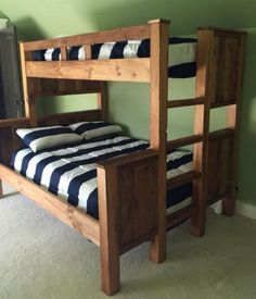 Free DIY Bunk Bed Plans & Ideas that Will Save a Lot of Bedroom Space Fashionable triple bunk bed liverpool you'll love Pallet Bunk Beds, Wooden Bunk Beds, Bunk Beds With Stairs, Cool Bunk Beds, Kids Bunk Beds, Bunkbeds For Teens, Bunk Beds For Adults, Triple Bunk Beds, Twin Full Bunk Bed