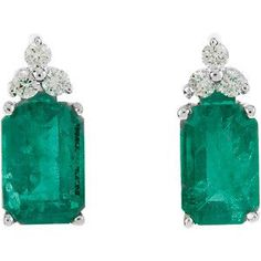 Emerald and Diamond Earrings Studs