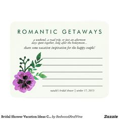 Bridal Shower Vacation Ideas Card | Purple Pansy