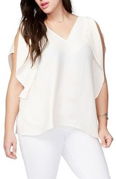 Shop Now - >  https://api.shopstyle.com/action/apiVisitRetailer?id=641080599&pid=uid6996-25233114-59 Plus Size Women's Rachel Roy Flutter Drape Top  ...