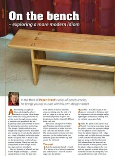 #413 Wood Bench Plans - Furniture Plans and Projects