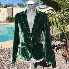 Lucky Brand Velvet Blazer Stunning green velvet blazer is 82% rayon and 18% silk so it is not that cheap stretch velvet. New without tag ❤️❤️❤️ Lucky Brand Jackets & Coats Blazers