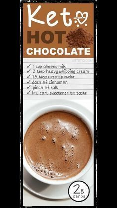 Keto Hot Chocolate with Almond Milk carbs Low Carb Sweets, Low Carb Desserts, Low Carb Recipes, Diet Recipes, Keto Smoothie Recipes, Dessert Recipes, Recipies, Cetogenic Diet, Ketosis Diet