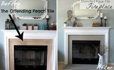 """Fireplace: Jess Jackson and Monica Mangin's fireplace makeover. Jess says, """"I used chalk paint, a stencil and a steady hand to transform the dated, ugly peach tile surround into a gorgeous, show-stopping fireplace with tons of style!"""". Painted tile effect."""