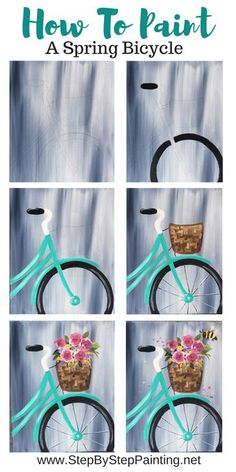 Spring Bicycle Painting - Step By Step Painting Learn how to paint a bicycle on canvas with flowers and a gray wash background. This is an easy step by step canvas painting tutorial with a traceable. #traciekiernan #stepbysteppainting Simple Canvas Paintings, Easy Canvas Painting, Spring Painting, Diy Canvas Art, Easy Paintings, Painting Pictures, Acrylic Canvas, Dog Paintings, Acrylic Paintings