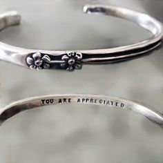 """""""You Are Appreciated"""" Bracelet - Sheva Artisan Jewelry Boutique Engraved Jewelry, Stamped Jewelry, Jewelry Stamping, Handmade Bracelets, Cuff Bracelets, Mother Jewelry, Jewelry Quotes, Birthstone Jewelry, Metal Stamping"""