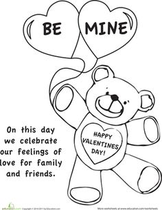 Valentine's Day First Grade Holiday Holidays Worksheets: Color the Valentine's Day Picture
