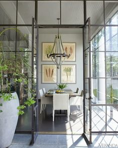 greige: interior design ideas and inspiration for the transitional home : Grey and light. Loving the steel windows and doors! Steel Doors And Windows, Veranda Magazine, New Orleans Homes, Transitional House, Deco Design, Design Design, Graphic Design, Home Design, Design Ideas