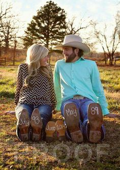 & Sam Baby announcement photo with boots.Baby announcement photo with boots. Cute Baby Announcements, Baby Announcement Photos, Country Baby Announcement, Maternity Pictures, Pregnancy Photos, Baby Pictures, Cowgirl Outfit, Cowboy Boots, Foto Baby