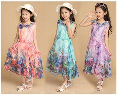2015 New Children's Clothing Kids Dresses Baby Fashion Beach Dresses Girls Summer Sleeveless Flower Bohemian Chiffon Long Dress-in Dresses from Mother & Kids on Aliexpress.com | Alibaba Group
