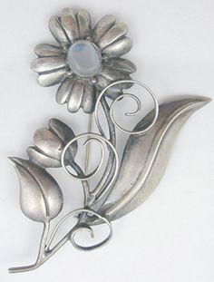Antique Artist Signed Sterling Silver Flower Branch /& Bow Large Brooch