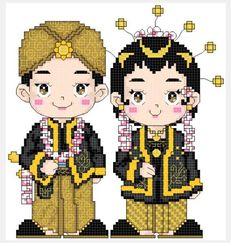 Wedding Couple Cartoon Kids 22 Ideas For 2019 Cross Stitch Embroidery, Cross Stitch Patterns, Diy Crochet Pillow, Wedding Couple Cartoon, Wedding Card Quotes, Wedding Reception Themes, Couple Sketch, Oriental, Crochet Keychain