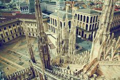 City view of Milan, Italy from Milan Cathedral in retro mood Family Vacation Destinations, Italy Vacation, Venice Travel, Italy Travel, Travel Europe, Places To Travel, Places To See, Italy In September, Milan Cathedral