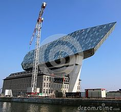 The new harbour offices in the port of Antwerp are nearing completion. Designed by Zaha Hadid architects.