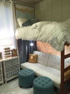 LSU has some amazingly decorated dorm rooms! Lofted Dorm Beds, Dorm Room Beds, Girl Dorm Rooms, Dorm Room Ideas For Girls, Loft Bed Room Ideas, Living Room Bed, Cute Dorm Ideas, Bedroom With Couch, Diy Dorm Room