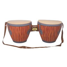 Realistic inflatable bongo drums with neck strap, ideal inflatable instrument for a beach themed party. Made out of high quality durable rubber