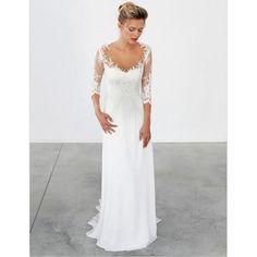 Unique Lace 3/4 Sleeve White Formal Cheap Beach Long Wedding Dresses, WG655
