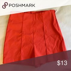 Very short shorts Red very short shorts with orange undertones.. supper stretchy.. High waisted with side zip.. worn once.. Love Culture Shorts