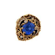 Macklowe Gallery gold ring by Marcus & Co, with an unheated Ceylon sapphire centre, set with 27 European old-cut diamonds from @1stdibs  (£37,580). #vintage #vintagejewelry #sapphire #diamonds #style #jewelry