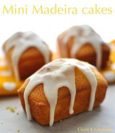 Madiera loaf cakes with lemon icing - Afternoon tea! Mini Madeira loaf cakes with lemon drizzle - Loaf Recipes, Baking Recipes, Cake Recipes, Dessert Recipes, Dessert Dishes, Mini Appetizers, Mini Desserts, Healthy Appetizers, Cupcakes