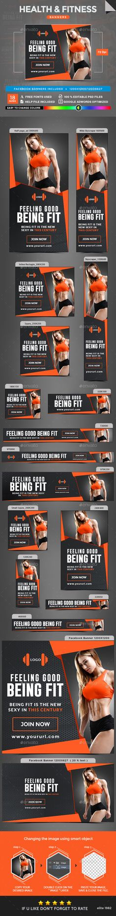 Health & Fitness Banner Ads Design Template - Banners & Ads Web Elements Design Template PSD. Download here: https://graphicriver.net/item/health-fitness-banners/18918227?ref=yinkira