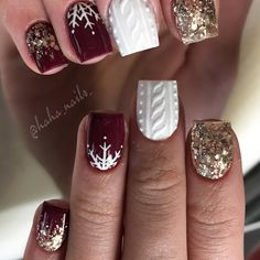 "661 Me gusta, 5 comentarios - Hailey Ann Craner (@haha_nails_) en Instagram: ""Maroon acrylic is ""Betty"" from @glamandglitsnails ❤️ white is from @youngnailsinc ❄️ rose gold…"""