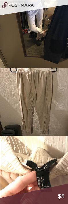Cream sweatpants small hole on side Forever 21 Pants Track Pants & Joggers