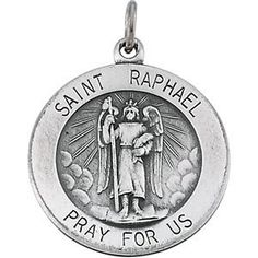 Sterling Silver 18mm Round St Raphael 18 Inch Necklace >>> Visit the affiliate link Amazon.com on image for more details.