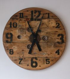 "Studio50, custom loft clock, 24"" salvaged spool face. distressed vintage country"