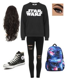 """school wear"" by jadakavalar ❤ liked on Polyvore featuring Tee and Cake and Converse"