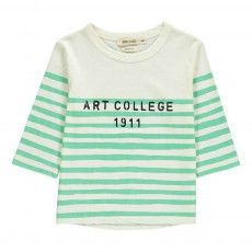 Art College Striped 3/4 Sleeve T-Shirt Ecru