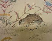 Quail Woodblock Print Japanese original  Authentic on Japanese paper 19 x 24cm