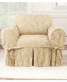 Sure Fit Matelasse Damask 1-Piece Chair Slipcover - Tan/Beige