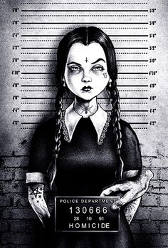 busted wednesday by marcus jones mugshot addams family tattoo canvas art print thing halloween the-munsters screaming-demons artwork Arte Horror, Horror Art, Stretched Canvas Prints, Canvas Art Prints, Wall Prints, Widder Tattoo, Evvi Art, Princesse Disney Swag, Creation Art