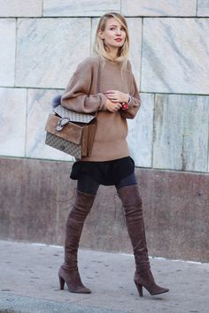 camel sweater with brown boots and structured bag