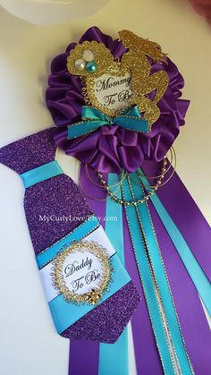 Mermaid Baby Shower Mommy to be Corsage/Purple and Turquoise