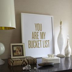 I mean, how sweet is this? We love this gold foil letter pressed print! It is the perfect piece to put in your office or by the door to remind your loved one how much they mean to you every day. Sold