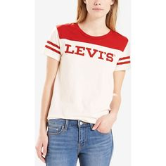 Levi's Cotton Perfect Logo Baseball T-Shirt (87 ILS) ❤ liked on Polyvore featuring tops, t-shirts, marshmallow, striped t shirt, logo t shirts, baseball t shirt, striped sleeve t shirt and cotton t shirts