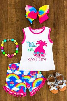 """Troll Hair"" Rainbow Pom Pom Short Set"