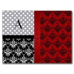 Name and monogram red damask polka dots post cards