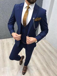 Bernard navy blue bojoni wedding suits men fall menswear ideas for 2019 Blue Slim Fit Suit, Blue Suit Men, Navy Blue Suit, Blue Suits, Man Suit, Navy Blue Tuxedos, Suit Vest, Dress Suits, Men Dress