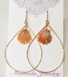 Sunrise shell hoop earrings- orange sunrise shell earring- Hawaiian sunrise shell jewelry- Sunrise hoops. (E127)