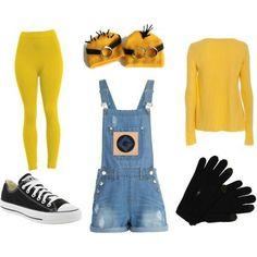 A fashion look from October 2013 featuring American Vintage, blue jumpsuit and minion halloween costume. Browse and shop related looks. Diy Minion Costume, Minion Halloween Costumes, Cute Costumes, Disney Costumes, Diy Halloween Costumes, Halloween Kids, Costume Ideas, Ghost Costumes, Halloween Skeletons