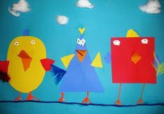 First Graders reviewed different kinds of geometric shapes then chose three for their three birds. We used primary colors (red, yellow and blue) to make our birds. Students then were to use freeform/ organic shapes to create wings and feathers. decorate with cotton balls for clouds, string for the line they are on and puffy feet.