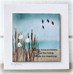 By Birgit Edblom (Biggan at Splitcoaststampers). Sponged background (Distress Inks). Stamp. White acrylic paint for flowers. She stamped on canvas printing paper.