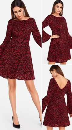 Red Leopard Pattern Bell Sleeves Dress HOT SALES 2020, beautiful dresses, pretty dresses, holiday fashion, dresses outfits, dress, cute dresses, clothes, classy & elegant, elegant style, mode trends 2020, trending, fashion, fashion looks, moda, women, beautiful, beauty, buy, sale, shop, shopping, vestidos elegantes, vestidos fofos, vestidos bonitos
