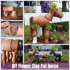 DIY Flower Clay Pot Horse Gardening Planters Tutorial - All For Herbs And Plants Flower Pot Art, Flower Pot Design, Clay Flower Pots, Flower Pot Crafts, Clay Pot Crafts, Clay Pots, Clay Pot Projects, Garden Crafts, Diy Garden Decor