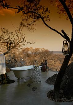 Sunset outdoor bathing, Madikwe Game Reserve, South Africa