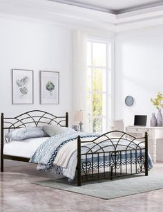 Bed Frame Black Metal Bed Frame Sizes, King Size Bed Frame, Beautiful Bedrooms For Couples, One Bed, Victorian Design, Black Metal, Mattress, Iron, Queen