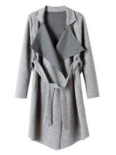 Gray Longline Lapel Knit Trench Coat